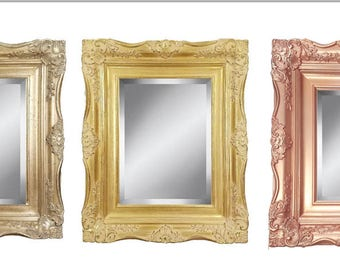 """4 """" Ornate Baroque French Gold, Silver, or Rose Gold Framed Beveled Wall Mirror Sizes: 8x10 11x14 16x20 24x36"""