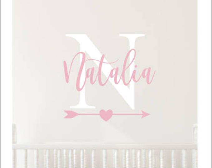 Girls Name Decal Vinyl Wall Decor Rustic Monogram Arrow Heart Handwritten Style Custom Personalized Girls Decal Bedroom Decor Nursery Decal