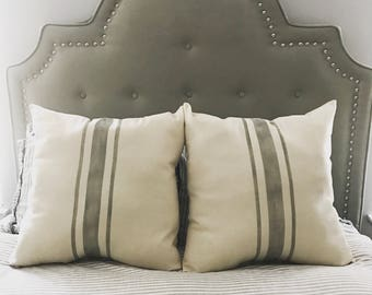 Upcycled Grainsack Euro Pillow - Choose your colors - Farmhouse Pillow - French Provincial Style - French Country Decor - Fixer Upper