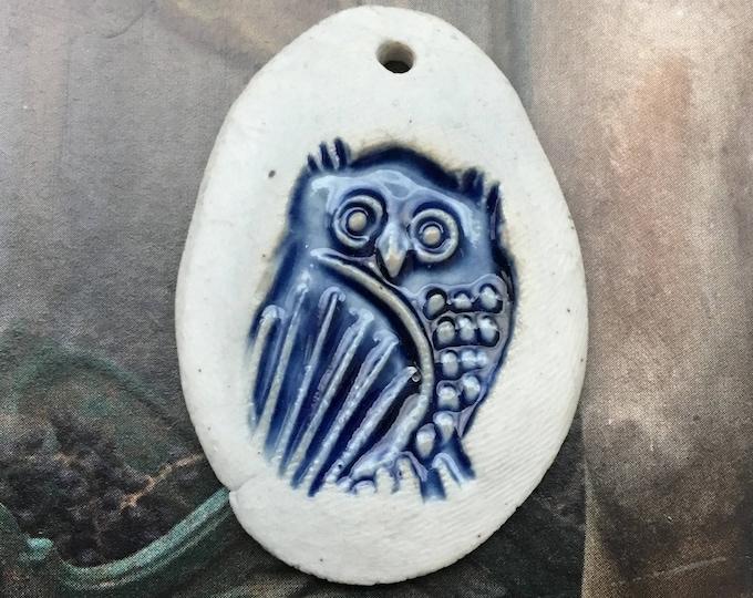 Vintage Ted Saito Owl Pendant Art Pottery Boho Mingei