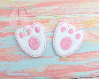 2 Pairs of  Easter bunny paw print felties embellishments party favors bows scrap booking hair bows