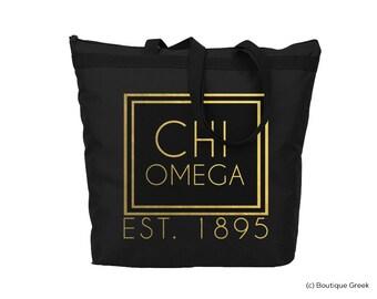 ChiO Chi Omega Foil Frame Sorority Tote
