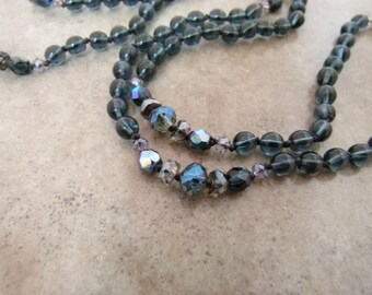 "Handknotted Long Bead Necklace - Layering Necklace ""East of Midnight"" - Item 1581"