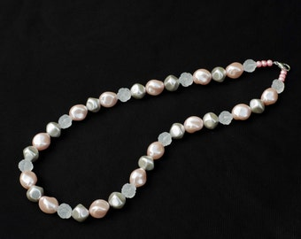 Pink Pearl Nugget Beaded Necklace