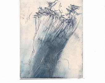 Coastal Trees 1:  Giclee Print of original etching with collage