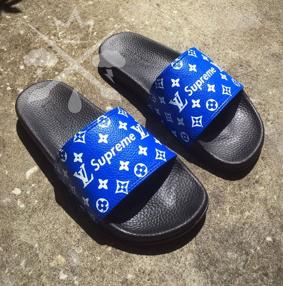 blue supreme louis vuitton luxury designer custom slides