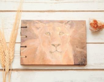 Lion Journal | Handmade Animal Diary | Coptic Binding