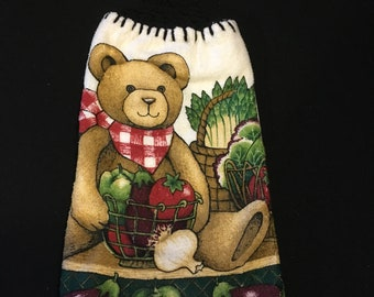 Teddy Bear with Veggies Double Sided Kitchen Hand Towel Black 2