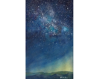 Turquoise Milky Way Sky- Original Watercolor Painting of a Starry Sky Over the Mountains- 5 1/2 x 10 3/4 inches, Blue Ridge Galaxy Art