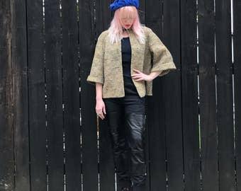 Cropped Jacket- Tweed Coat- 60s Mod- 1960s Clothing- Chanel Inspired Jacket- Modern Jacket- Gold Rhinestones- XS SMALL