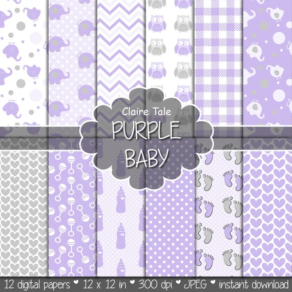 """Baby digital paper: """"PURPLE BABY"""" with elephants, foot print, hearts, rattles, baby bottles, owls, gingham, polka dots in purple and grey"""