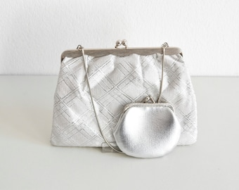 Vintage bridal bag, silver clutch bag, silver bag, metallic bag, silver clutch, silver vintage bag, party bag, bridal bag, wedding bag