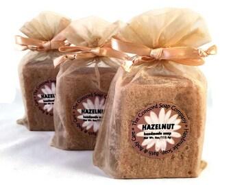 Hazelnut Handmade Cold Process Soap Bar, 4oz - food scent, nut, coffee, vegan, natural, organic sustainable palm oil, beige organza bag