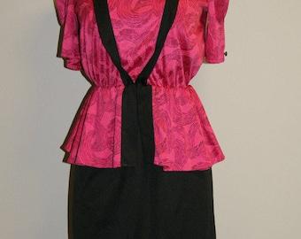 Vintage 1970's 70's Fuchsia Pink Black Peplum Disco Cocktail Dress - Size 8