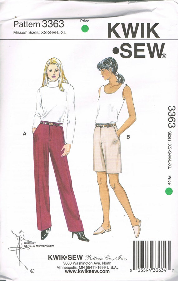 Size XS-XL Misses\' Straight Leg Mid Rise Pants Sewing Pattern - Knee ...