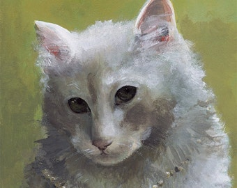 Rosebud- Cat Art, Kitty with Pearls, children, decor