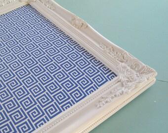 Ornate White Framed Corkboard,  Blue Greek Key Fabric, Bulletin Board, Message Center, 16 x 20