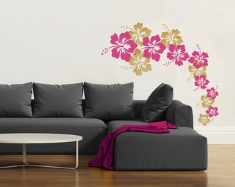 More colors. Cascading Hibiscus Flowers -Wall Decal ... & Flower wall decal | Etsy
