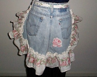 Recycled Jeans APRON Ruffled Edge