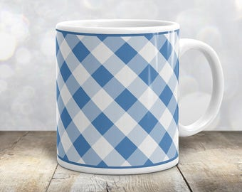 Country Blue Gingham Mug - Blue White Gingham Pattern with Blue Outline Country Kitchen Mug - 11oz or 15oz