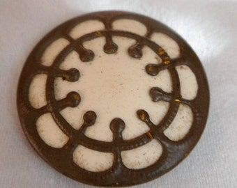ANTIQUE White Celluloid in Metal BUTTON