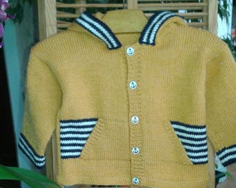 Yellow style VEST baby boy 12 months, HOODED, wool, sailor gift birthday handmade knit