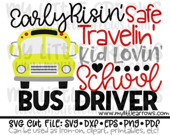 Bus driver svg - school bus svg - back to school svg - silhouette dxf files - cut files - cricut svg files - school bus driver gift svg