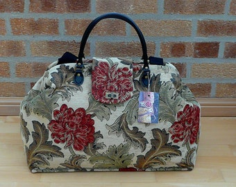 Floral Carpet Bag, Mary Poppins Bag, Chenille Bag, Weekender Bag, Luggage and Travel, Large Overnight Bag.