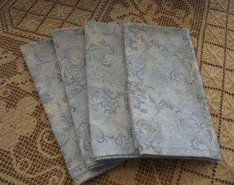 Set of 4 Handmade Light Blue Tooled Leather Look Fabric Napkins, Dinner Napkins, Cloth Napkins, Cotton Napkins, Luncheon Napkins, Western