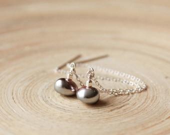 Silver Threader earrings with  pearls. Long chain thread earrings, wedding earrings. Trending styles. Graduation gift. June birthstone gift