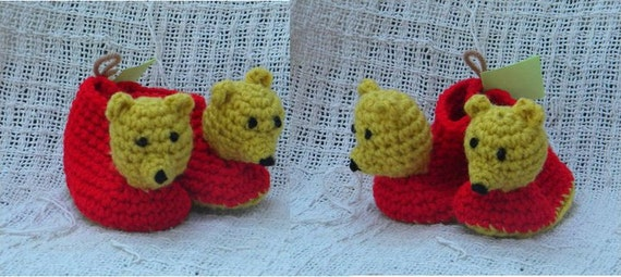 Crochet Pattern 022 - Honey Bear Baby Booties - 3 Sizes