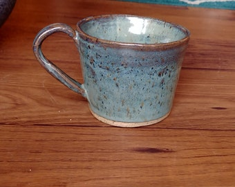 Blue speckle ceramic mug (brown speckle clay, handmade, pottery)