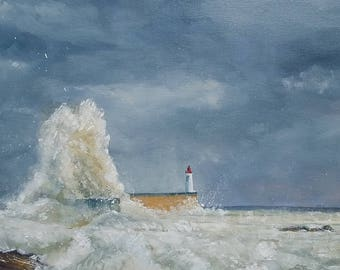 """Painting ' oil depicting Lighthouse Sables D'olonne """"White Lame on red Lighthouse"""""""