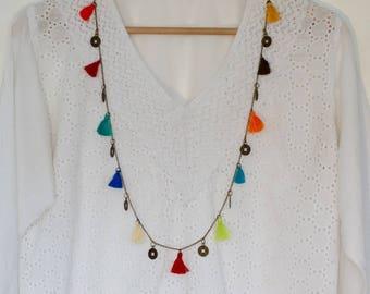 Tassel Necklace, Long Necklace, Colourful Necklace, Boho Necklace, Festival Jewellery, Beach, Bohemian, Rainbow Necklace