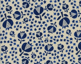 boho fabric, floral fabric, blue fabric, thistle indigo, quilting cotton, floral quilt fabric, modern quilt fabric, fabric by the yard