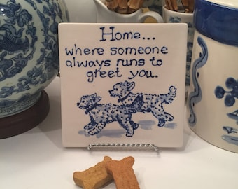 Home is where..... Double Goldendoodle  trivet  COPYRIGHT