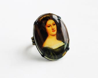 Fine Art Lady Portrait Cameo Ring Vintage Oil Painting Portrait Cabochon Jewelry Baroque Fine Art History Oil Painting Jewelry