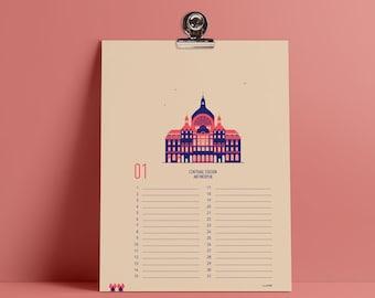 Birthday Calendar Antwerp screen print -  Perpetual Calendar - Wall Calendar