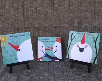 Mini Art Print on Easel, Wood Mounted Print, Christmas, Snowman, Acrylic Painting on old Hymn pages, Christian Art, 4x4