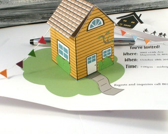 House Party Pop Up Greeting Card - House Warming Invite