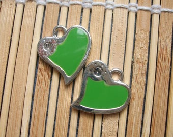 2 green metal heart enameled charms