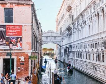 Venice, canal, Bridge of Sighs. Doges Palace, prison, gondola,