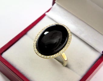 AAAA Black Onyx 18x13mm  12.30 Carats   14K Yellow gold Diamond halo cabochon ring. 1525