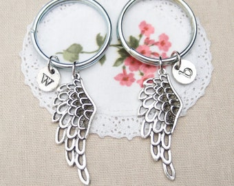 2 personalized wing keychains keyrings, sterling silver filled, angel wing charm, mother daughter gift,gift for Valentines,her his keychains
