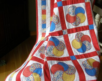 Appliqued Circles Baby Quilt with Primary Colors