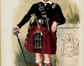 Clan Chisholm Scottish Highlander ~ Traditional Tartan and Arms ~ ca 1845 -  Giclee print - Scotland Clan Art