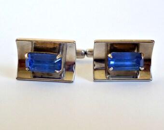Vintage Cufflinks Retro Hickok Blue Rhinestone Cuff Links Mid Century 1950's