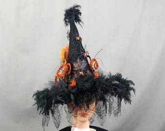 Elegant Black Witch Hat, Halloween Witch Hat Costume, Orange and Black Fancy Witch Hat, Lace Witch Hat, Gothic Fashion, Wicked Witch Hat