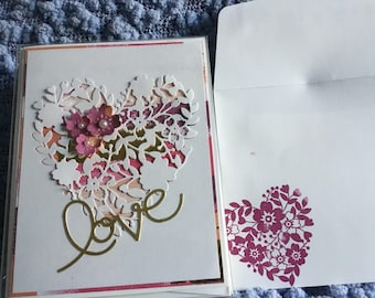 Handmade love valentines 5 blank inside cards with matching envelopes