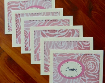 6 Thank You Notes, Handmade Thank You Notes, Thank You Card Set, Thank You Cards, Rose Pink Thank You Notes, Paper Handmade Greeting Cards